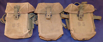 Vintage Lot of 3 Vietnam Era US Army/USMC Canvas Ammo Pouches Dated 1968