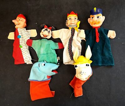 Collection Of x6 VINTAGE HAND PUPPETS Circa 1950-1960 / UNBOXED - P16