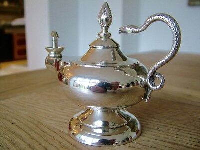 Antique Solid Silver 1905 Aladdin's Roman Lamp Gentleman's Table Cigar Lighter