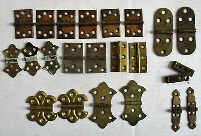 Lot 23 Antique Vintage Brass Finish Hinges Cabinet Trunk Hardware Steampunk