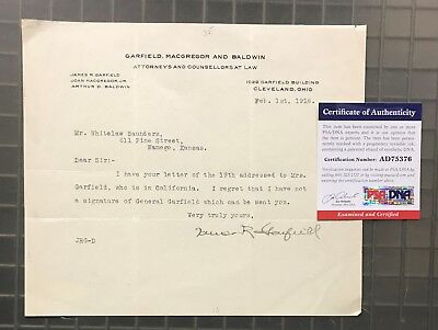 James Rudolph Garfield ( Son Of President Garfield ) Signed 1918 Letter PSA/DNA