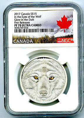 2017 Canada $15 Silver Ngc Pf70 Ucam Glow In The Dark Eyes Of The Wolf Fr Rare !
