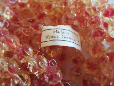 144pcs Vintage West German Apricot & Crystal Pinched Glass Beads 8mm !!