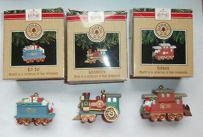 Lot of 3 Christmas Hallmark Keepsake Ornaments Train Ornaments In Boxes