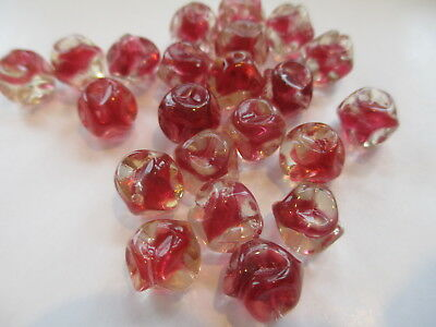 50pcs Vintage West German Berry & Crystal Pinched Glass Beads 10mm !!
