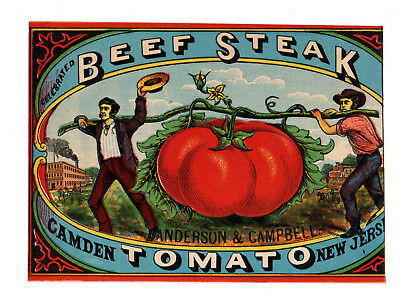 1874 Anderson & Campbell, Camden, New Jersey Beef Steak Tomato Color Litho Label