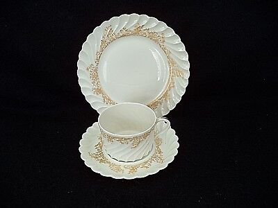 French Haviland china Ladore trio 7.5in dessert plate cup saucer gold on white
