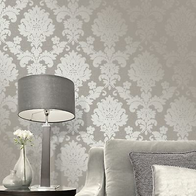 Quartz Damask Wallpaper Pewter - Fine Decor Fd41975 Glitter Metallic Grey