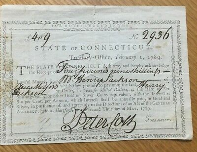 1789 Connecticut 4 Pounds & 9 Shillings Treasury Office Note Xf? Free Shipping