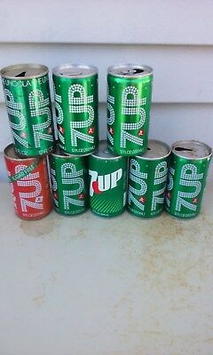 8 Diff 7Up  Steel  Soda Can Cans Collection