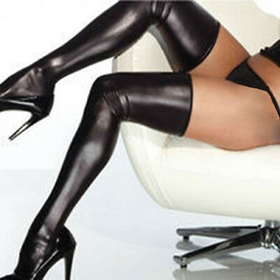 Women Rock Gothic Thigh High Sexy Latex Catsuit Stockings Thongs G-String Novel