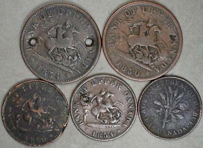 Canada Lot of 5 Colonial Tokens - Low Grade/Damaged