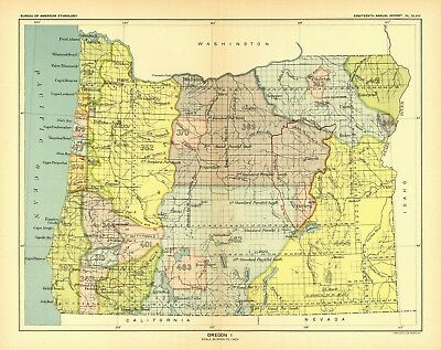1896 map Oregon 1 United States Indian land cessions POSTER 51