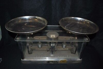 Apothecary Torsion Balance Scale Style 253 Counter Glass Case Original Pat 1885
