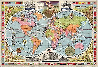 Coffee Tea Vanilla Spices Pictorial 1957 World Map McCormick & Company 46208