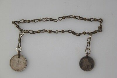 Original Antique Watch Chain with Oriental Coins Silver for ? Charivari