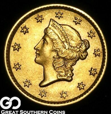 1853 Gold Dollar, $1 Gold Liberty, Type 1, Very Nice Rich Gem BU++ ** Free S/H!