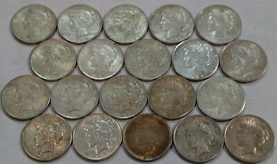 (ROLL of 20) Mixed dates VF-AU PEACE Silver Dollars. Nearly all are AU & XF