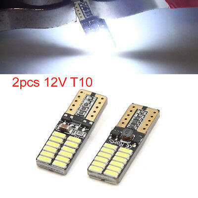 2pcs 12V T10 3014-SMD 24 LED White Car Wedge Side Light Replacement Lamp Bulb