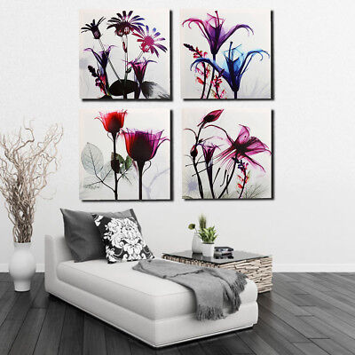 4Pcs Framed Abstract Flowers Canvas Art Poster Picture Print Art Wall Home Decor