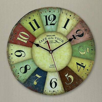 Large Giant Wall Clock Colorful Retro Vintage Rustic Wooden Home Round Face