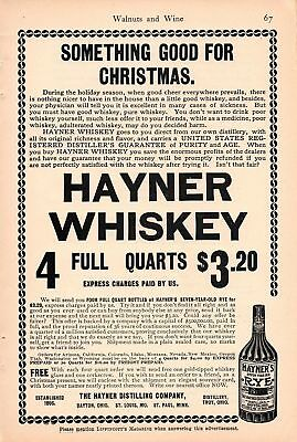 1902 Hayner Rye Whiskey Ad-Something Good For Christmas
