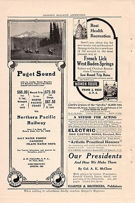 1908 Monon Route Railroad Ad-French Lick,west Baden Springs
