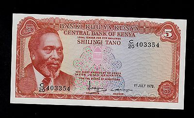 Kenya  5  Shillings 1978  C/20  Pick # 15  Unc Less.