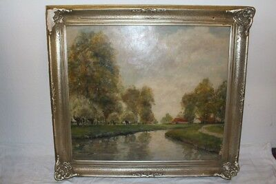 Original Antique Painting Oil/Wood Canal Gehöft North Germany Signed r.