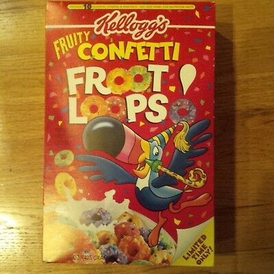 Kellogg's FRUITY CONFETTI FROOT LOOPS Limited Ed. 1996 VINTAGE CEREAL BOX