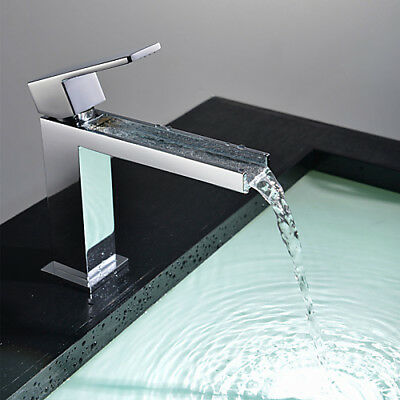 Modern Bathroom Sink Faucet Single Handle Waterfall Square Spout Sink Mixer NEW