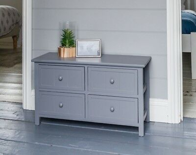 Four Drawer Shabby Chic Chest of Drawers Cabinet Bedside Unit Painted Grey Woode