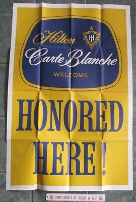 Vintage Hilton Carte Blanche Honored Advertising Poster Gulf Gas Station Hotel