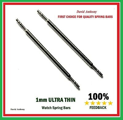 ULTRA THIN 1mm THICK WATCH SPRING BARS/PINS 16mm, 18mm, 20mm, 22mm