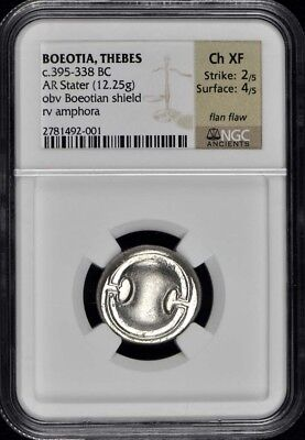 c.395-338 BC BOEOTIA, THEBES AR Stater NGC XF45