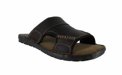 Mens Red Tape Ale Brown Leather Slip On Summer Mules Sandals UK Sizes 6 to 11