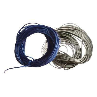 2x 10 Meters Waxed Nylon String Rope for DIY Necklace Bracelet 1mm Grey Blue