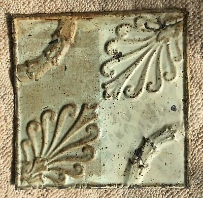 1890's 12 x 12 Antique Tin Ceiling Tile Gray Metal Reclaimed Anniversary 156-18