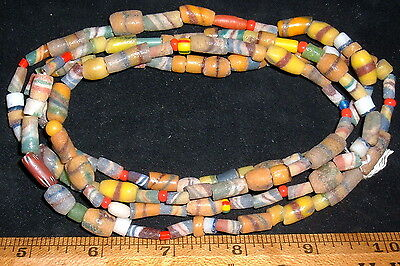 "Long Strand (44"") Assorted Trade Beads From Ghana Collectible African Beads"