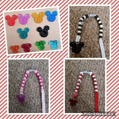Stunning Bling **minnie/mickey Mouse** Personalised Dummy Clip. ****free P&p****