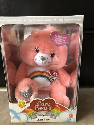 CARE BEARS Silver Swarovski Collectibles CHEER BEARS PLUSH New In Box