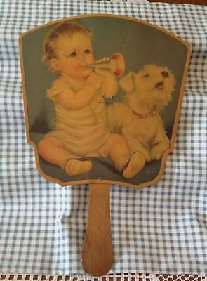 Vintage Advertising Fan with Sealyham Terrier Dog