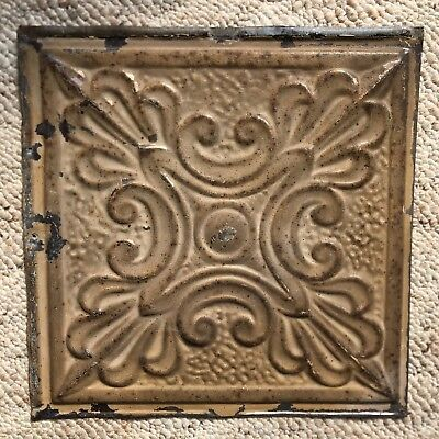 1890's 12 x 12 Antique Tin Ceiling Tile Buckskin Brown Metal Reclaimed 158-18