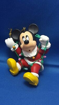 Disney Mickey Mouse Grolier Xmas Ornament Tangled in Lights NEW Winter Holiday