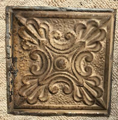 1890's 12 x 12 Antique Tin Ceiling Tile Buckskin Brown Metal Reclaimed 159-18