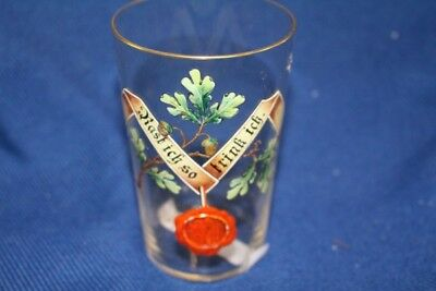 Original Antique Glass Drinking Enamel Painting Email Racing I SO DRINK ~ 1880
