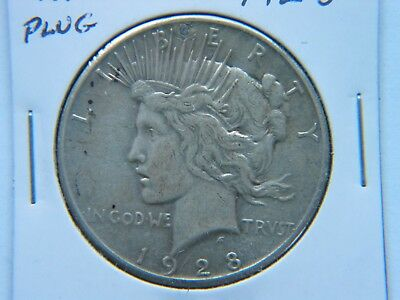 1928 $1 Peace Silver Dollar Rare Key Date XF Detail Plugged