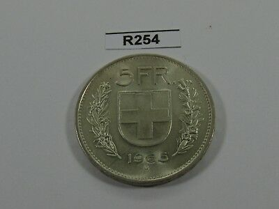 Switzerland 1965 5 Francs Silver Coin Rare Year - R254