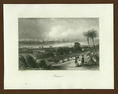 Singapore, Stahlstich steel engraving ca. 1850