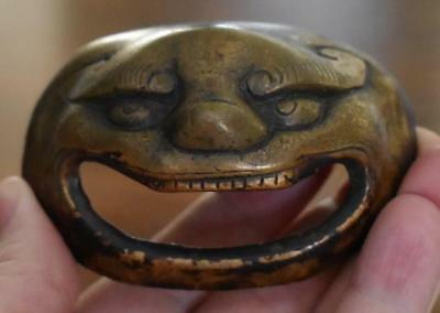 Antique Chinese Bronze Monster Face Drawer Pull